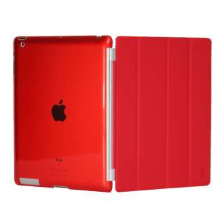 Red Magnetic Smart Front Cover + Back Hard Case for new Apple iPad 3