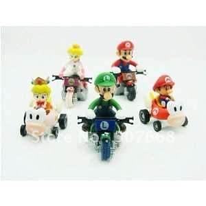 super mario bros. kart pull back car figures 5pcs 200set/lot Toys