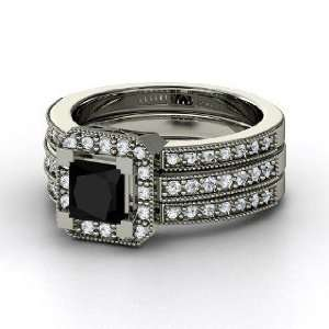 Va Voom Ring, Princess Black Onyx 14K White Gold Ring with Diamond