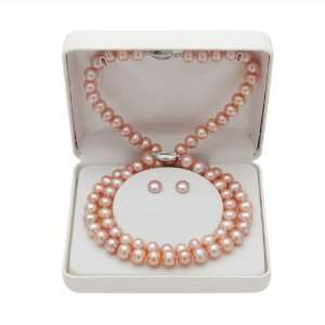 18 Pink Freshwater Pearl and Sterling Silver Necklace, Bracelet and