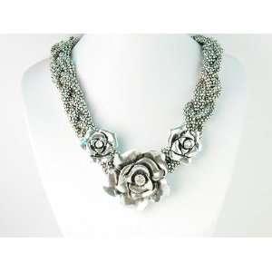 Fancy Metal Braid Chain Rosette Rose Floral Trio Flower Clear Crystal