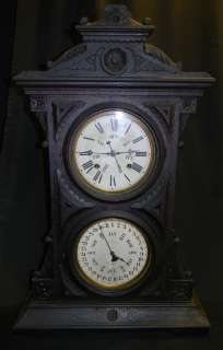 ANTIQUE WELCH SPRING & CO WALNUT CALENDAR SHELF CLOCK
