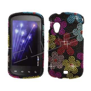For Samsung Stratosphere i405 Diamond Bling Case Cover  Flowers Black
