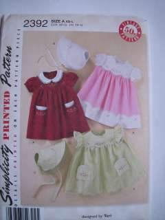 VINTAGE Style Patterns 50s Babies Dress & Bonnet With Embroidery