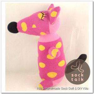 Handmade Pink Sock Monkey Fox Stuffed Animals Doll Baby Toy