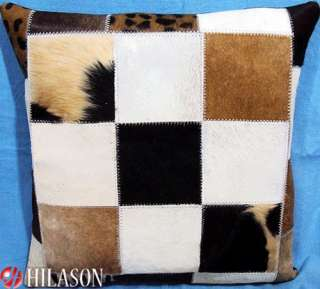 Cowhide Leather Hair On PatchWork Cushion Pillow Cover PL256