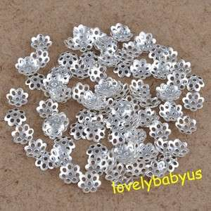 beautiful silver plated flower beads caps charms jewelry findings 6 mm