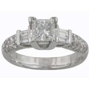 Princess Cut Diamond Antique Style Engagement Platinum Ring Size 10.5