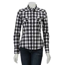 Yanuk Womens White/ Black Plaid Shirt