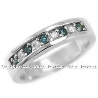 50CT FANCY BLUE VS DIAMOND WEDDING BAND RING 14K WHITE GOLD