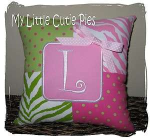 Personalized Pink Lime Green Zebra Polka Dot Girls Accent Pillow