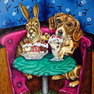 Beagle at the ice cream picture parlor art tile coaster gift