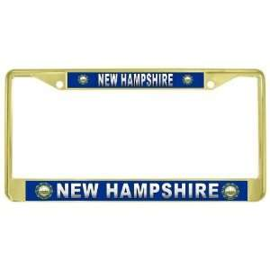 New Hampshire State Name Flag Gold Tone Metal License Plate Frame