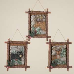 Country Cabin Rustic Nature Framed Hunting Christmas Ornaments 6