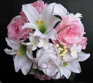 Wedding Bouquet Bridal Silk flowers PINK WHITE LILY 17 pc centerpieces