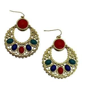 com Fashion Dangle Earrings ; 2.25L; Gold Tone Metal with Red, Blue