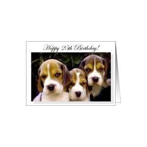 Happy 25th Birthday Beagle Puppies Card: Toys & Games
