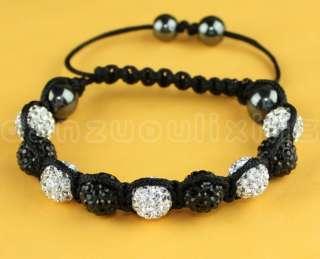 Jewelry White&Black Czech Crystal 10MM Disco Ball Shamballa Bracelets