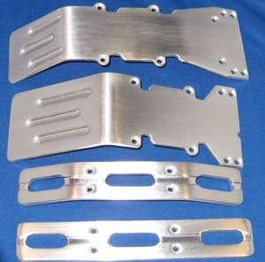 Maxx E Maxx Brushed Aluminum skid plates bumper set.
