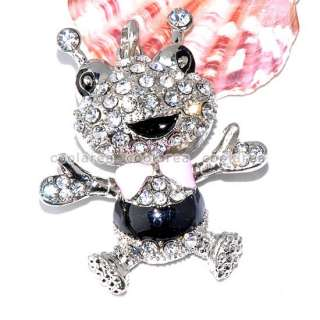 Rhinestone Crystal Frog Bead Enamel Pendant For Necklace Jewelry New