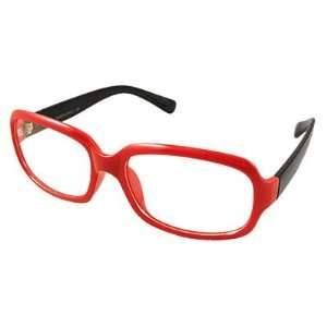 Como Women Men Orange Red Frame Black Arms Plain Plano Glasses