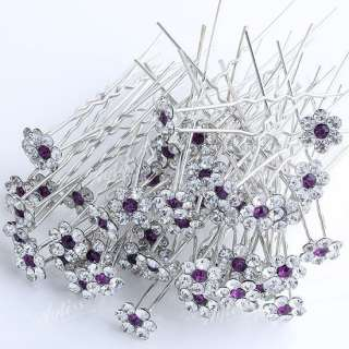 100x Wholesale Flower Bridal Hair Pins Clips Accessory
