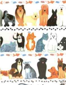 DOG & CAT GIFT WRAPPING PAPER  6 Folded Sheet