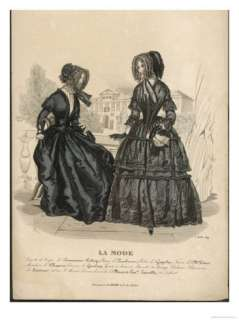 Two Ladies in French Mourning Dress Sit on a Verandah Giclee Print at