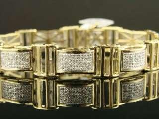 10K NEW MENS YELLOW GOLD PAVE DIAMOND BRACELET 3.0 CT