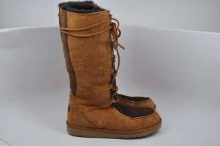 Ugg Sunburst Tan & Brown Suede Tall Boots Sheepskin Lining Size 8
