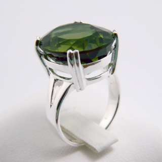 Green Quartz Gemstone Oval Genuine 925 Sterling Silver Ring Size 7