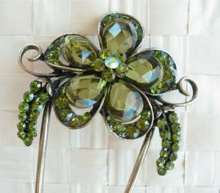 SWAROVSKI CRYSTAL BIG BRONZE FLOWER HAIR STICK PIN PICK 477