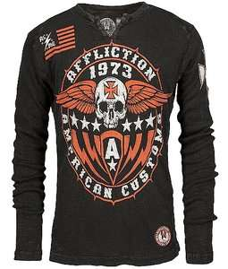 AFFLICTION MENS AMERICAN CUSTOMS IRON SHIELD THERMAL SHIRT M L XXL