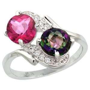 14k White Gold ( 7 mm ) Double Stone Engagement Pink & Mystic Topaz