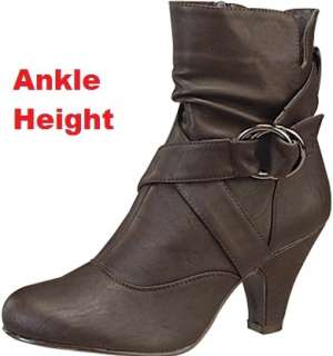 Brown Mid Ankle High Heel Dress Casual Boot Shoes Sz 7