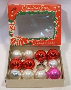Box Vintage Mercury Glass Christmas Tree Ornaments