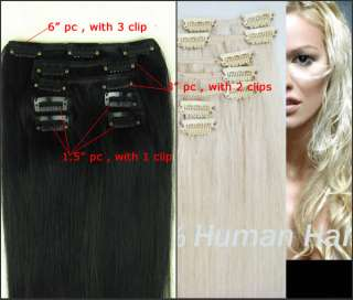 varity of 7pc 60g clip on in human hair extensions