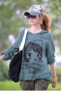 L204 Korean lovely gril cotton womens top sports shirt
