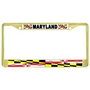 Maryland State Flag Gold Tone Metal License Plate Frame