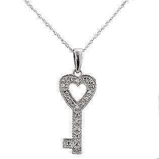 Key Pendant. 10k White Gold  Jewelry Diamonds Pendants & Necklaces