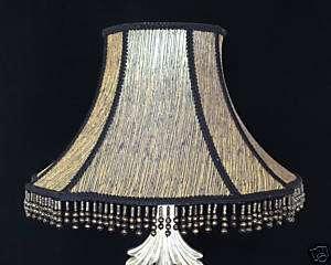 CONTEMPORARY BLACK & GOLD 100% SILK LAMP SHADE