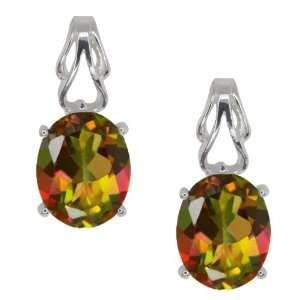 4.60 Ct Oval Mango Mystic Topaz 18k White Gold Earrings