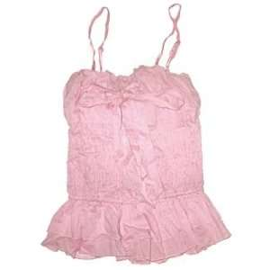 Ruffled Stretch Tank Top with Bow in BABY PINK   Ladies / Juniors Size