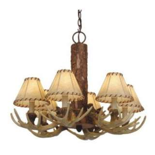 NEW 6 Light Rustic Faux Antler Chandelier Lighting Fixture, Faux