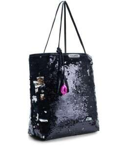 With Tags Betsey Johnson Black Sequin Tote Get Glitzy Retails for $168