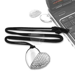 USB Flash Drive , 4GB Silver Jeweled Metal Heart Necklace at