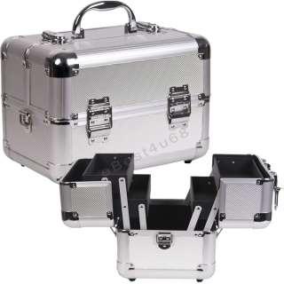 Silver Dot Makeup Train Case Cosmetic Aluminum 2 trays C02 Black