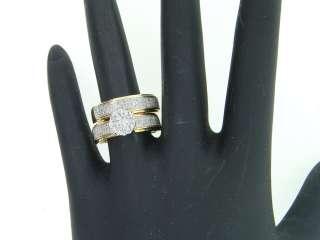MENS LADIES 10K YELLOW GOLD .72C DIAMOND WEDDING TRIO SET FLOWER