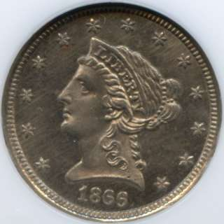 1866 $2½ Struck on a 3 Cent Nickel Planchet NGC MS 66