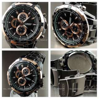 NEW HOURS CLOCK LUXURY SPORT MEN FASHION BLACK GOLDEN STEEL WRIST